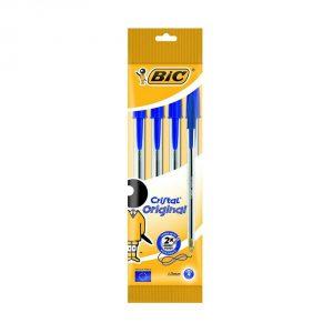 4 BIC Cristal Original Pens Blue Colours
